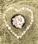 crystal heart in the sand